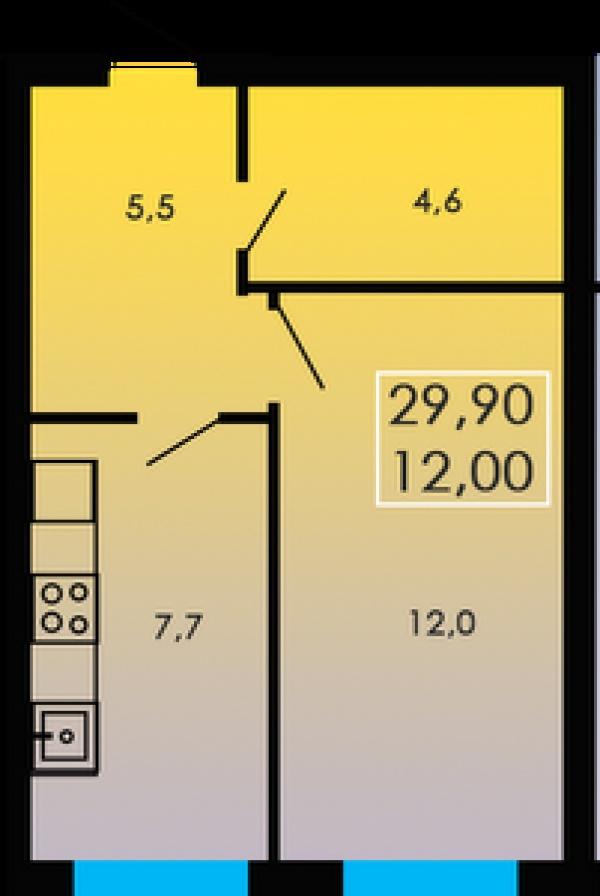 Планировки однокомнатных квартир 29.9 м^2